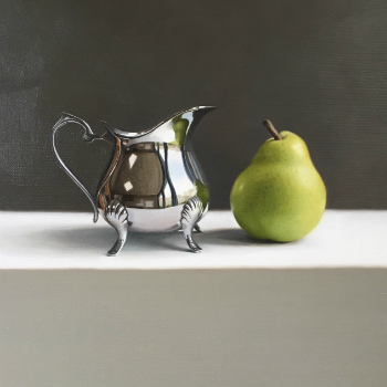 Oil painting - Pear and Silver Jug