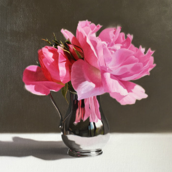 Oil painting - Pink Roses in a Silver Jug