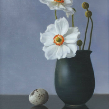 Oil painting - Still Life with Anemones and Quails' Egg