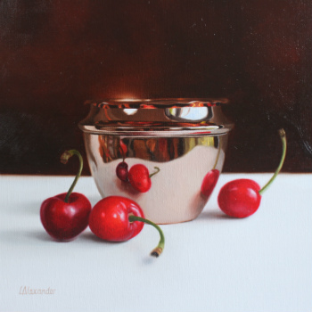 Oil painting - Cherries and Copper Pot