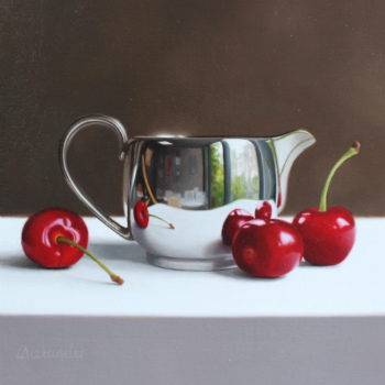 Oil painting - Cherries and Silver Jug