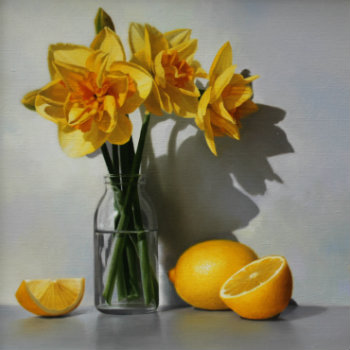 Oil painting - Daffodils and Lemons