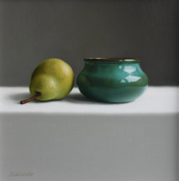 Oil painting - Green Bowl and Pear