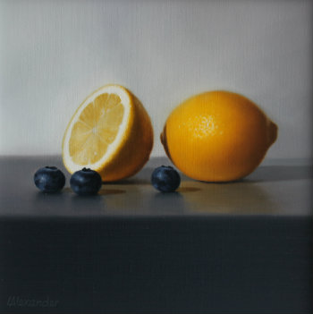 Oil painting - Lemons and Blueberries