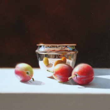 Oil painting - Plums and Copper Pot II