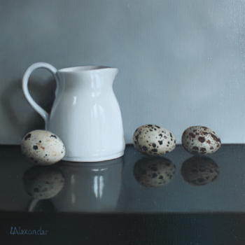 Oil painting - Quail Eggs and White Jug II