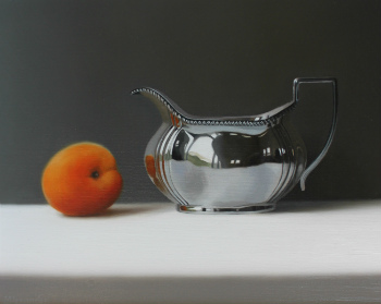 Oil painting - Silver Jug and Apricot