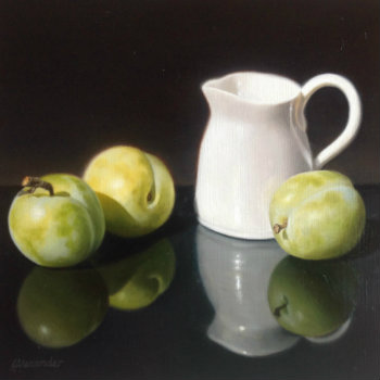 Oil painting - Still Life with Jug and Greengages