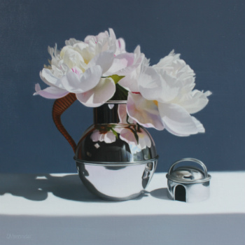 Oil painting - White Peonies in a Guernsey Jug