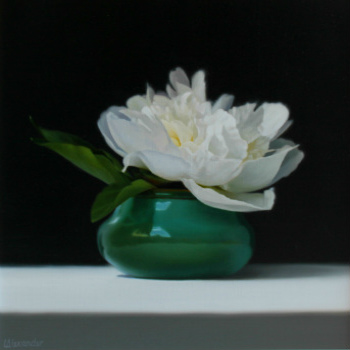 Oil painting - White peony in a Green Pot