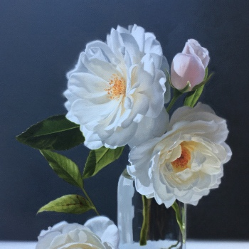 Oil painting - White Roses